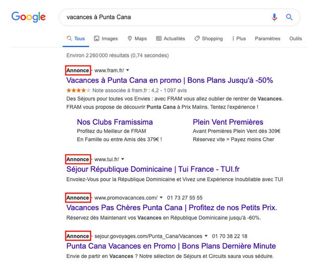 Exemple d'affichage des annonces Google